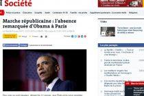 Le Monde remarca lipsa presedintelui SUA Barack Obama de la marsul republican de la Paris