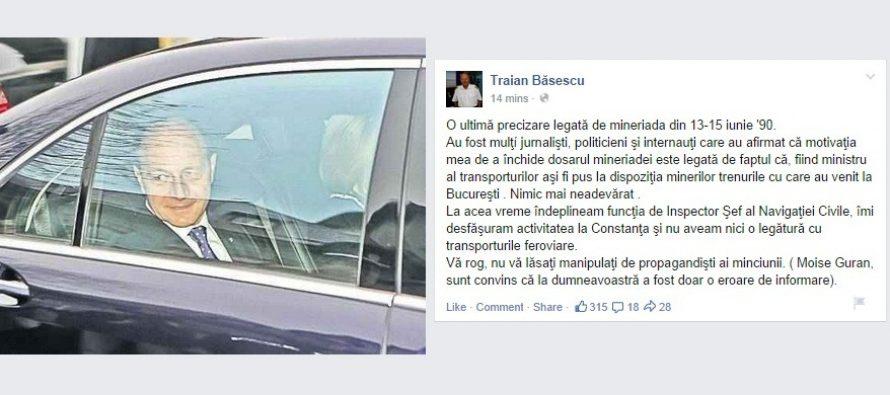 Traian Basescu, un nou mesaj privind Dosarul Mineriadei: Nu e adevarat ca le-am dat minerilor trenuri sa vina la Bucuresti!