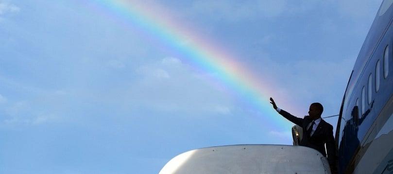 Curcubeu de vis in timpul vizitei lui Barack Obama in Jamaica. FOTO