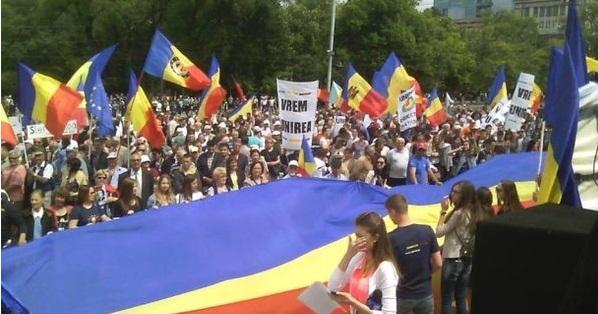 Mars de amploare la Chisinau. Se cere unirea Romaniei cu Rep. Moldova