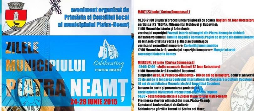 Zilele orasului Piatra Neamt 2015. Programul evenimentelor care se vor desfasura intre 24 si 28 iunie