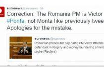 Gafa la Euronews! Numele lui Victor Ponta, scris gresit de jurnalisti