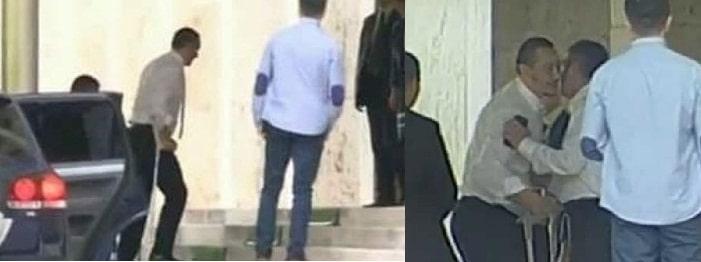 Victor Ponta s-a intors in tara. Premierul s-a dus la Guvern in carje si i-a surprins pe jurnalisti cu un nou look