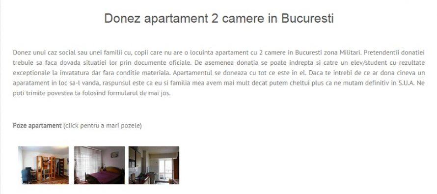 Donez apartament  cu 2 camere in Bucuresti. Act caritabil sau teapa?