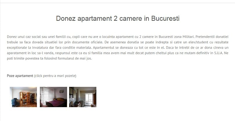 Donez apartament cu 2 camere in Bucuresti