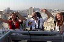 Andrei Gheorghe a facut emisie la Matinalul Pro FM la 50 m deasupra Ateneului Roman, pe Dinner In The Sky