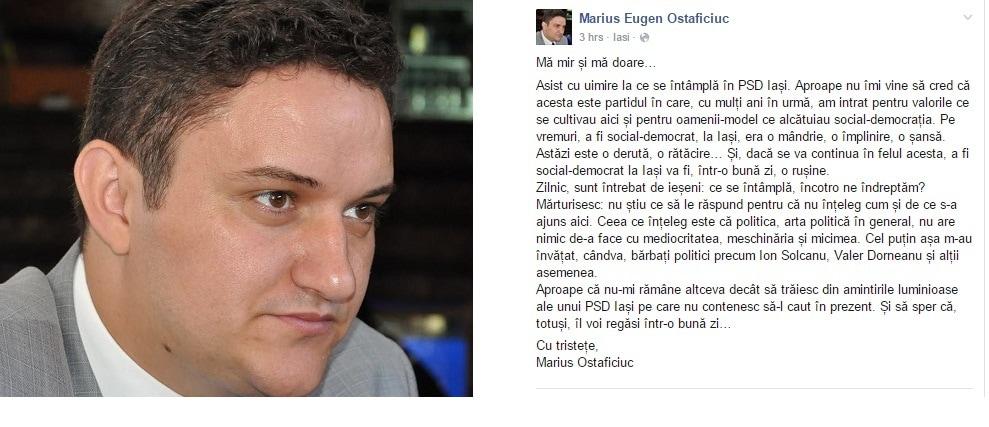 Marius Ostaficiuc, suparat pe PSD Iasi: Nu inteleg cum s-a ajuns aici. A fi social-democrat la Iasi va fi o rusine