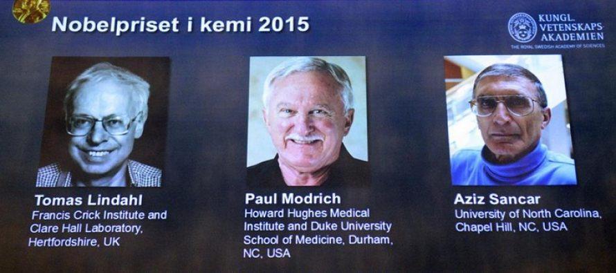 CASTIGATORI NOBEL 2015: Premiul Nobel pentru Chimie revine cercetatorilor Tomas Lindahl, Paul Modrich si Aziz Sancar