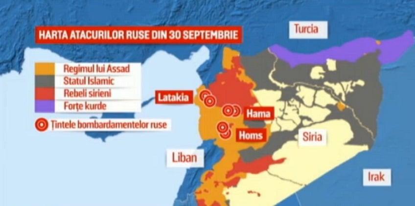 Rusia a atacat vineri in Siria sase tinte inamice