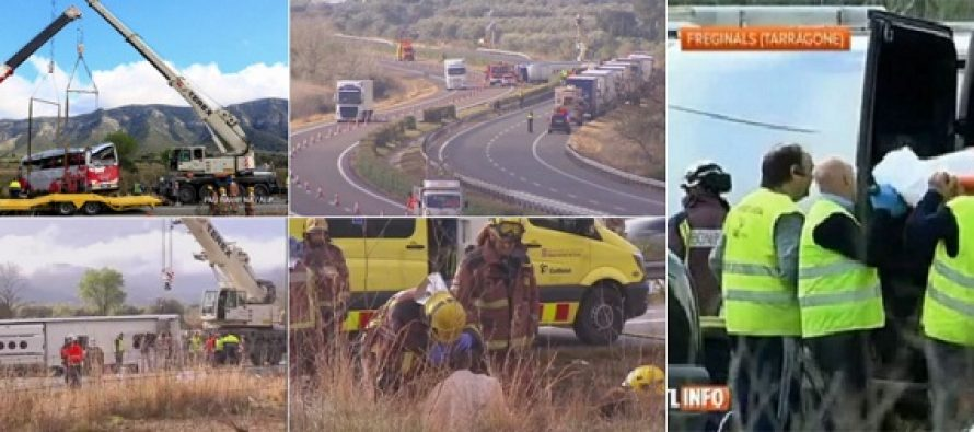 Accident de autocar cu studenti Erasmus in Spania. O romanca a murit in accident, in total sunt 13 morti si 43 de raniti