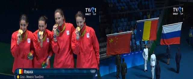 Romania a castigat medalia de aur la spada! Felicitari Simona Gherman, Ana Maria Popescu, Simona Pop si Loredana Dinu!