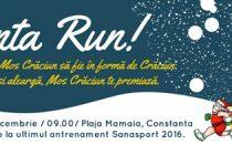 SantaRun, eveniment inedit la Constanta. Constantenii alearga pe plaja din Mamaia costumati in Mos Craciun