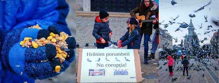 Protest inedit la Timisoara: Hranim porumbeii, nu coruptia! Organizator: Nu s-a sesizat nimeni cand PSD s-a folosit de copii la locale si parlamentare. FOTO
