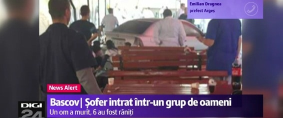Accident la Bascov. Un tanar concediat a intrat cu masina intr-un grup de oameni, un mort si sase raniti