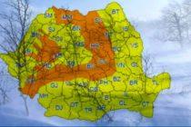 Alerta ANM Cod portocaliu de ninsori si viscol la munte, in restul tarii este Cod galben de ploi, vant si temperaturi scazute