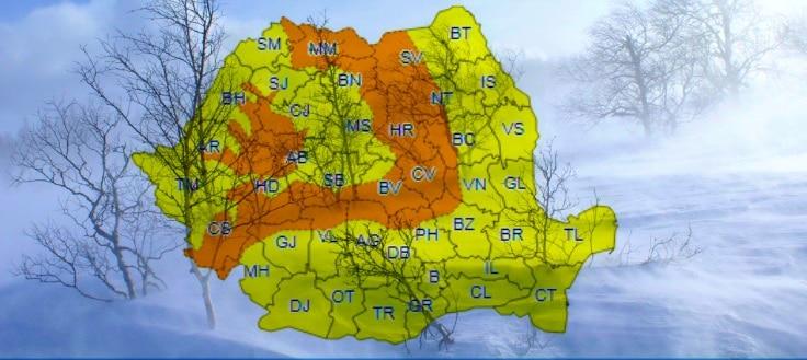 Cod portocaliu de ninsori si viscol la munte, in restul tarii este Cod galben de ploi, vant si temperaturi scazute