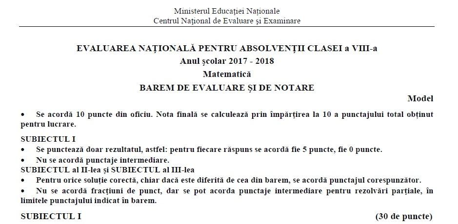 modelele de subiecte pentru evaluarea nationala 2018 si