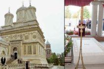 Mormantul Regelui Mihai de la Curtea de Arges, in pregatire. Cripta acoperita pana acum cu catifea, a fost descoperita