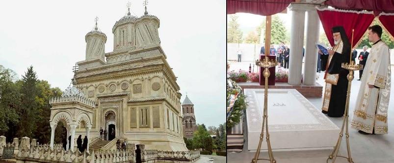 Mormantul Regelui Mihai de la Curtea de Arges, in pregatire. Cripta acoperita pana acum cu o catifea neagra a fost descoperita