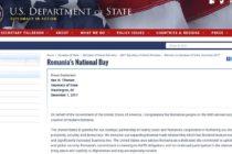 Departamentul de Stat al SUA, mesaj de Ziua Nationala: Felicitam poporul roman cu ocazia aniversarii a 99 de ani de la crearea Romaniei moderne