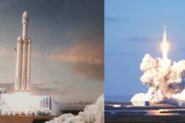 Falcon Heavy a decolat cu succes de la Cape Canaveral. Starman si automobilul Tesla sunt in drum spre Marte