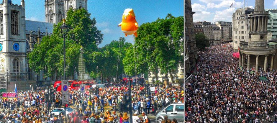 Proteste ample la Londra impotriva vizitei lui Trump in Marea Britanie. Langa Parlament a fost ridicat Baby Trump