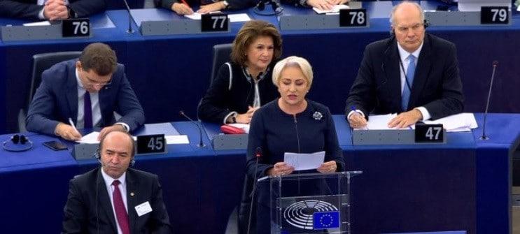 Premierul Dancila in Parlamentul European: Nu am venit aici sa dau socoteala. Va cer sa nu interziceti Romaniei ceea ce este permis in alte state UE