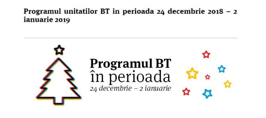 PROGRAM BANCI CRACIUN 2018 SI REVELION 2019. Program Banca Transilvania pe 24, 25, 31 decembrie, 1 si 2 ianuarie 2019