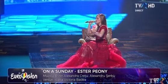 """Romania va fi reprezentata la Eurovision 2019 de Ester Peony, care a castigat finala selectiei nationale, cu piesa """"On a Sunday"""". Concursul Eurovision va avea loc la Tel Aviv, pe 18 mai."""