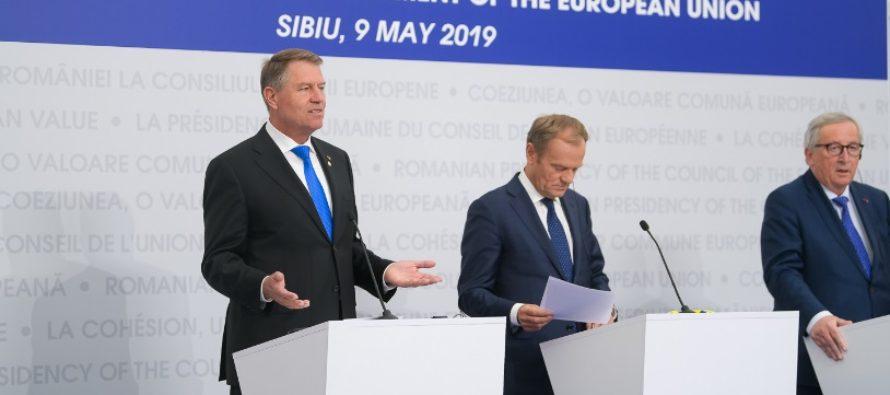 Declaratia de la Sibiu, adoptata de sefi de stat si de guvern din 27 de tari membre ale Uniunii Europene, mai putin Marea Britanie