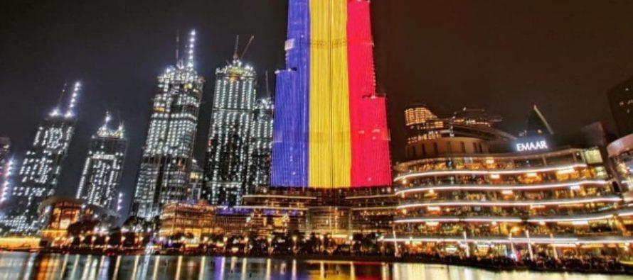 Cea mai inalta cladire din lume, Burj Khalifa din Dubai, luminata in culorile steagului Romaniei