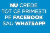 "Campanie anti-fake news in criza coronavirusului: ""Nu crede tot ce primesti pe Facebook sau WhatsApp"""