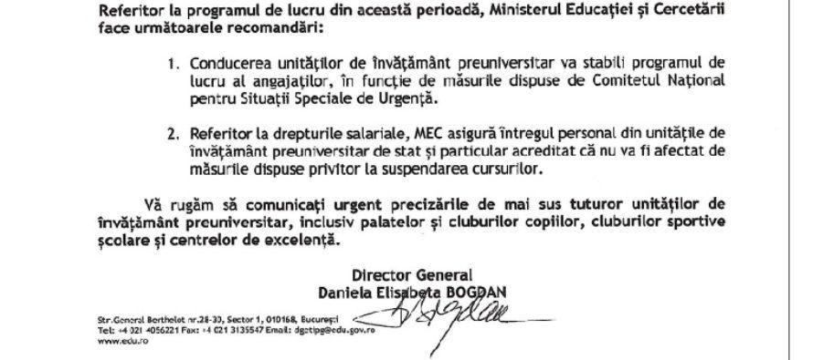 Programul de lucru al profesorilor, in perioada suspendarii cursurilor, va fi stabilit de directorii unitatilor de invatamant