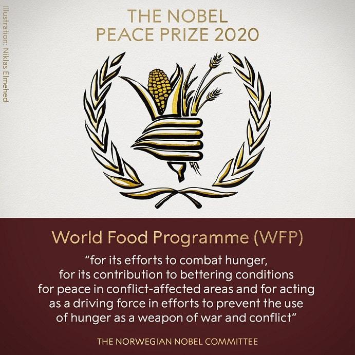 Premiul Nobel pentru Pace 2020, acordat Programului Alimentar Mondial din cadrul ONU