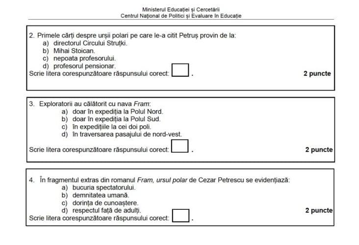Modele de subiecte la Evaluarea Nationala 2021
